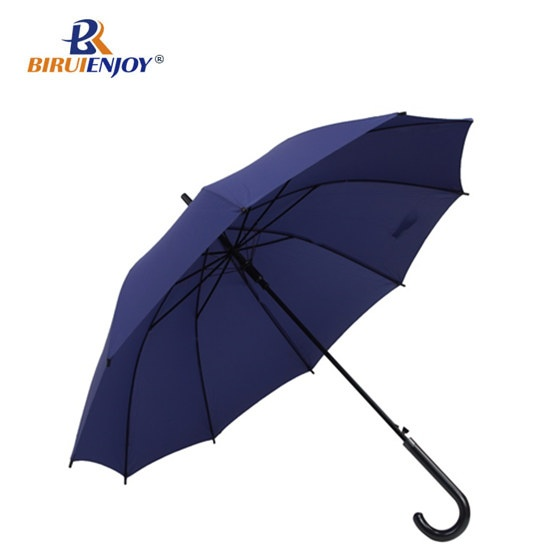 Straight umbrella blue pongee hook handle for men/women