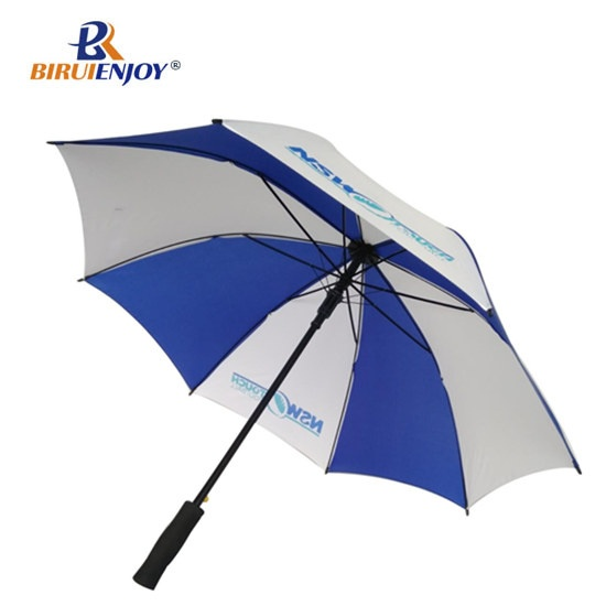 Branding stick umbrella blue white for sports team