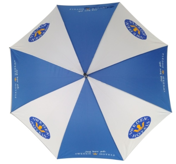 Promotional stick umbrella blue and white for sweden hotels