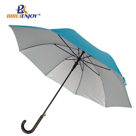 Promotional stick sun umbrella uv silver fabric imitated wood handle
