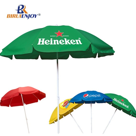 Large sun umbrella outdoor with drink brand printed
