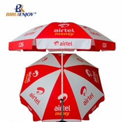 Arc 200cm beach umbrella with tilt red and white