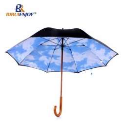 New arrival stick umbrella for lady wood handle