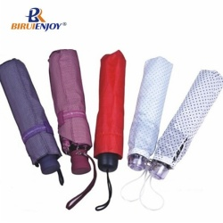 Nice rain/sun umbrella for female 3 folding 21 inch